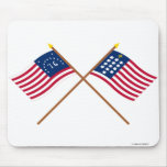 Crossed Bennington and French Alliance Flags Mousepad