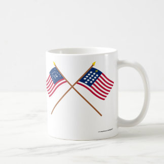 Crossed Bennington and French Alliance Flags Classic White Coffee Mug