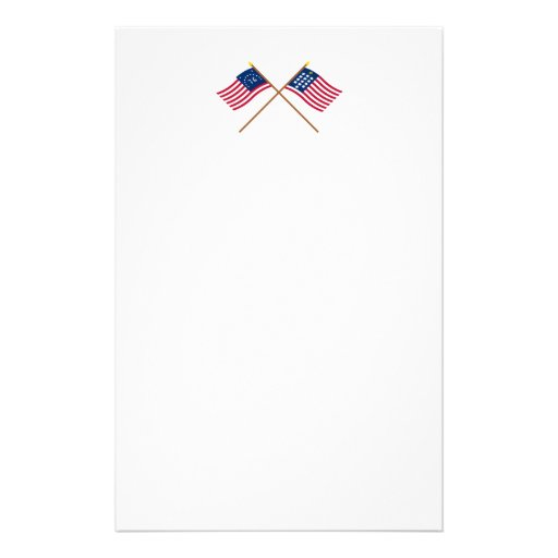 Crossed Bennington and French Alliance Flags Stationery