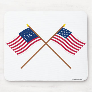 Crossed Bennington and Frigate Alliance Flags Mouse Pad