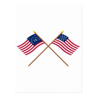 Crossed Bennington and Frigate Alliance Flags Postcard