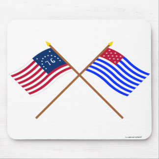 Crossed Bennington and Ft Mercer Flags Mouse Pad