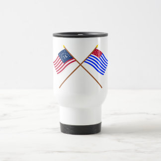 Crossed Bennington and Ft Mercer Flags 15 Oz Stainless Steel Travel Mug