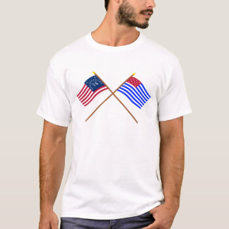 Crossed Bennington and Ft Mercer Flags T-Shirt