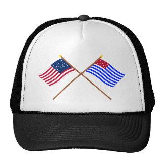 Crossed Bennington and Ft Mercer Flags Trucker Hat