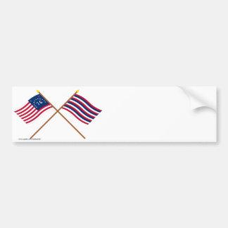 Crossed Bennington and Ft Mifflin Flags Bumper Sticker