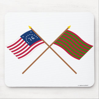 Crossed Bennington and Ft Sackville Flags Mouse Pad