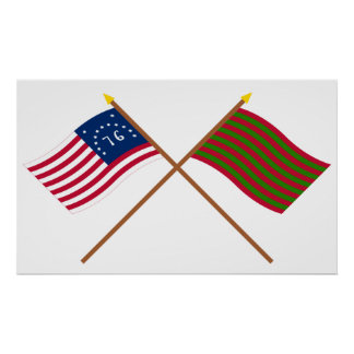 Crossed Bennington and Ft Sackville Flags Poster