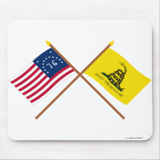 Crossed Bennington and Gadsden Flags Mouse Pad