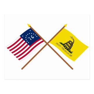 Crossed Bennington and Gadsden Flags Postcard