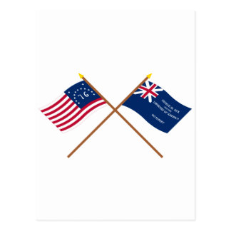 Crossed Bennington and George Rex Flags Postcard