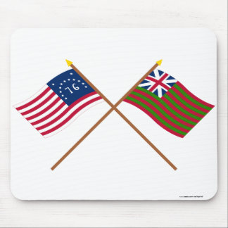 Crossed Bennington and Grand Union Naval Flags Mouse Pad