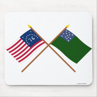 Crossed Bennington and Green Mountain Boys Flags Mouse Pad