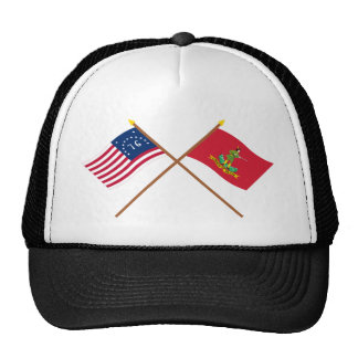 Crossed Bennington and Hanover Associators Flags Trucker Hat