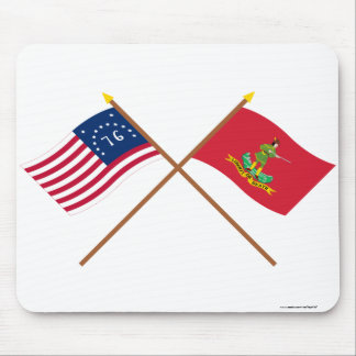 Crossed Bennington and Hanover Associators Flags Mousepad