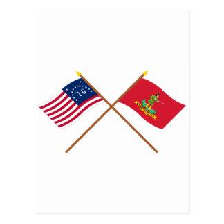 Crossed Bennington and Hanover Associators Flags Postcard