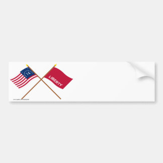 Crossed Bennington and Huntington Flags Car Bumper Sticker