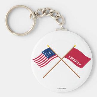Crossed Bennington and Huntington Flags Key Chains