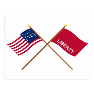 Crossed Bennington and Huntington Flags Postcard