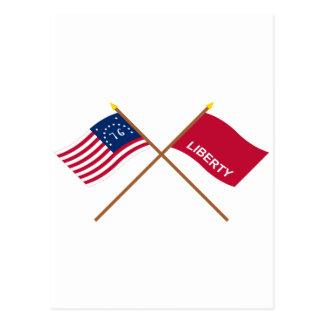 Crossed Bennington and Huntington Flags Post Cards