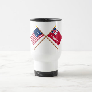 Crossed Bennington and Liberty Flags 15 Oz Stainless Steel Travel Mug