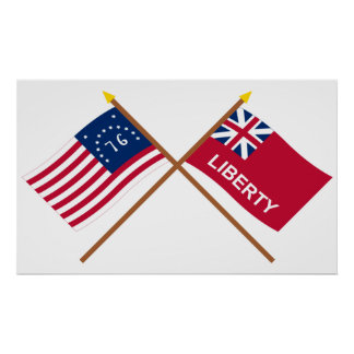Crossed Bennington and Liberty Flags Poster