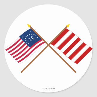 Crossed Bennington and Liberty Tree Flags Classic Round Sticker
