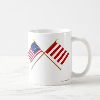 Crossed Bennington and Liberty Tree Flags Coffee Mugs