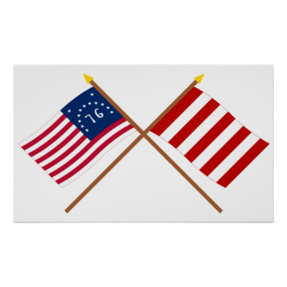 Crossed Bennington and Liberty Tree Flags Poster