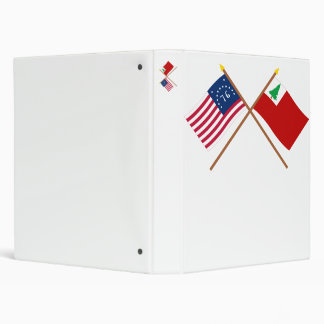 Crossed Bennington and New England Flags 3 Ring Binders