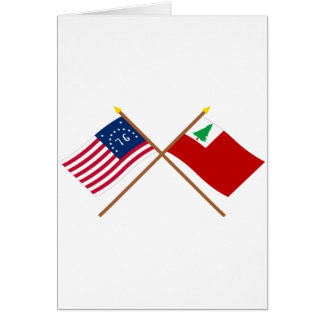 Crossed Bennington and New England Flags Greeting Card
