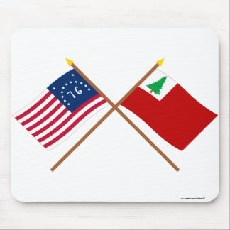 Crossed Bennington and New England Flags Mouse Pad