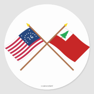 Crossed Bennington and New England Flags Classic Round Sticker
