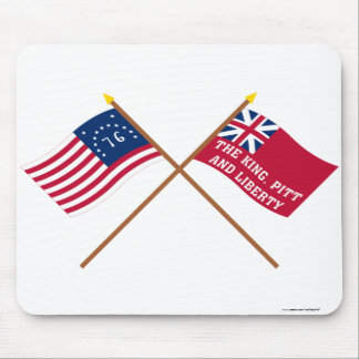 Crossed Bennington and New York Liberty Flags Mouse Pad