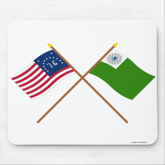 Crossed Bennington and Newburyport Flags Mouse Pad