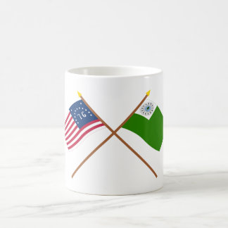 Crossed Bennington and Newburyport Flags Classic White Coffee Mug