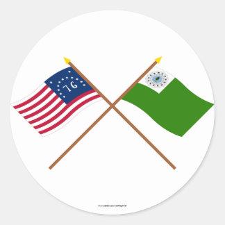 Crossed Bennington and Newburyport Flags Round Sticker