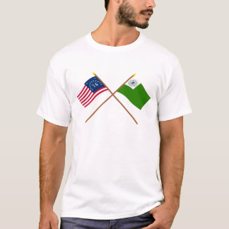 Crossed Bennington and Newburyport Flags T-Shirt