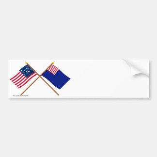 Crossed Bennington and Pennsylvania Navy Flags Bumper Stickers