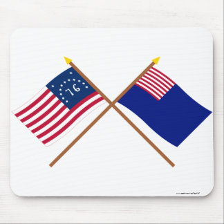 Crossed Bennington and Pennsylvania Navy Flags Mouse Pad