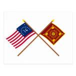 Crossed Bennington and Pulaski Flags Postcard