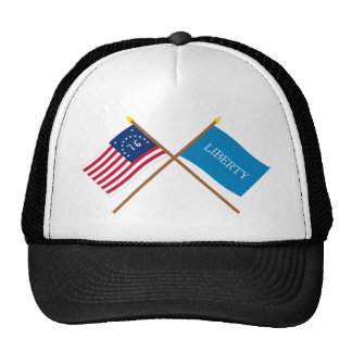 Crossed Bennington and Schenectady Liberty Flags Trucker Hats