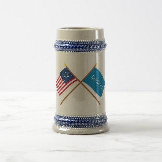 Crossed Bennington and Schenectady Liberty Flags Coffee Mug