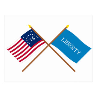 Crossed Bennington and Schenectady Liberty Flags Postcard