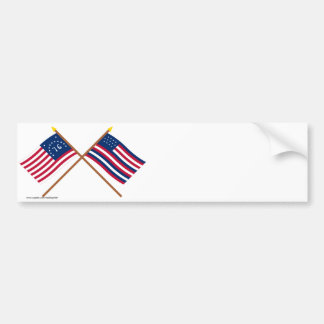 Crossed Bennington and Serapis Flags Bumper Stickers
