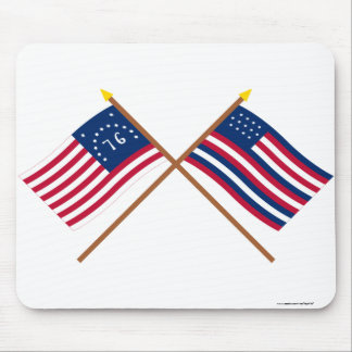 Crossed Bennington and Serapis Flags Mouse Pad