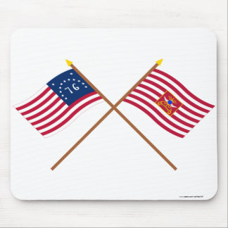 Crossed Bennington and Sheldon's Horse Flags Mouse Pad