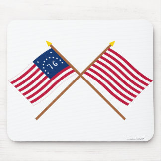 Crossed Bennington and Sons of Liberty Flags Mouse Pad