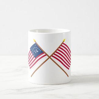 Crossed Bennington and Sons of Liberty Flags Coffee Mug