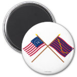Crossed Bennington and South Carolina Navy Flags 2 Inch Round Magnet